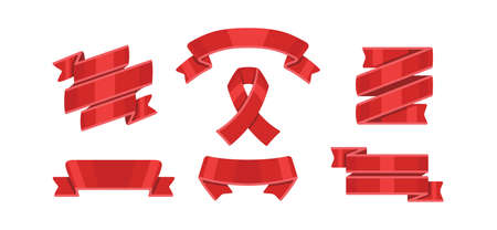 Red ribbons set, isolated on white background. Decorative ribbon banner collection Banque d'images - 130655094