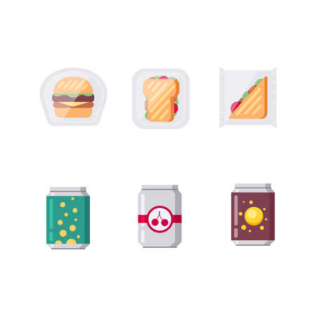 Set of soda drinks and fastfood vector illustration