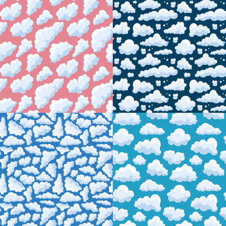 Clouds pattern in cartoon style vector collection Stock Illustratie