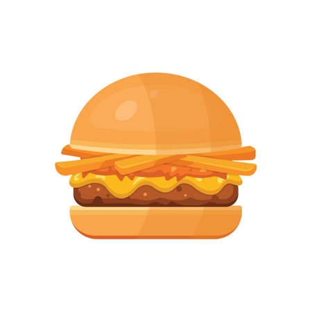 Classic burger with flying ingredients. Vector hamburger icon in cartoon style. Ilustração