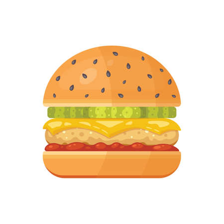 Classic burger with flying ingredients. Vector hamburger icon in cartoon style. Archivio Fotografico - 132972096