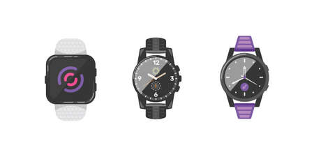 Classic watches set of vector icons. Watch for businessman, smartwatch and fashion clocks collection.