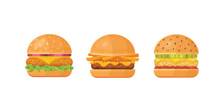 Set of classic burgers with flying ingredients. Vector hamburger icons. Archivio Fotografico - 132972102