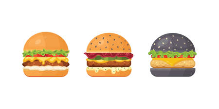 Set of classic burgers with flying ingredients. Vector hamburger icons. Archivio Fotografico - 132972104