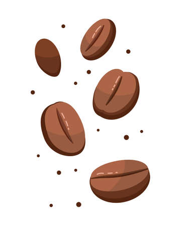 Coffee beans collection set isolated on white background vector illustration. Çizim