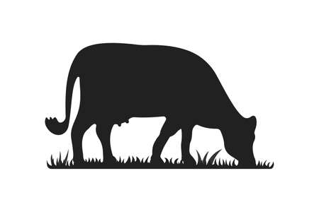 Cow silhouettes on grass. Cow grazing on meadow vector cartoon illustration. Ilustrace