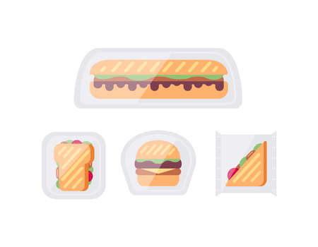 Sandwich snacks and toasts in package vector set in cartoon style.