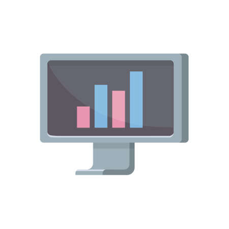 Computer monitor vector illustration in cartoon style. planning and investment concept.