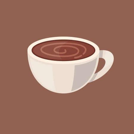 Cartoon coffee or cocoa cup. Hot chocolate vector illustration