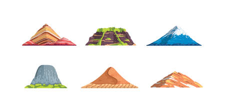 Different mountains landscape isolated vector illustration in cartoon style. Nature mountain silhouette elements se. Travel or hiking mountainous.