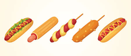 Hot dog set of vector illustrations. Collections of different ast food hotdogs Çizim