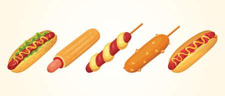 Hot dog set of vector illustrations. Collections of different ast food hotdogs Illusztráció