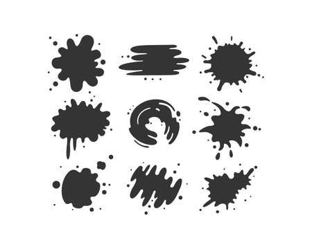 Black paint blots collection of vector icons. Cartoon paint splatters and ink splashes