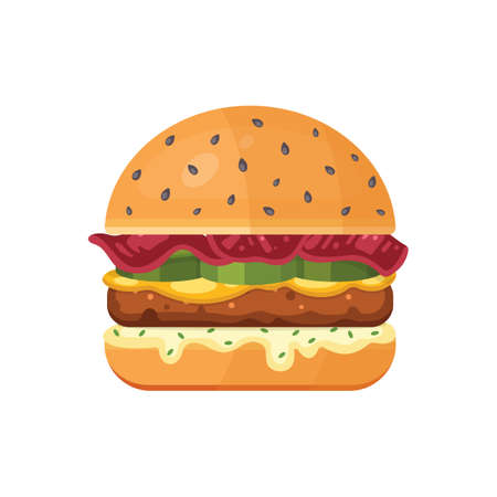 Classic burger with flying ingredients. Vector hamburger icon in cartoon style. Archivio Fotografico - 132972115