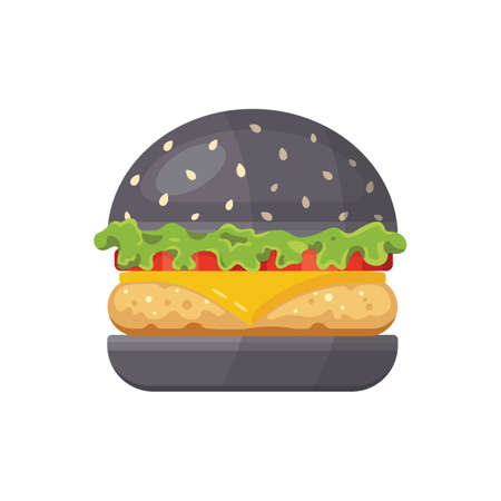 Classic black burger with flying ingredients. Vector hamburger icon in cartoon style. Archivio Fotografico - 132972116