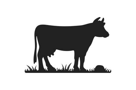 Cow silhouettes on grass. Cow grazing on meadow vector cartoon illustration Reklamní fotografie - 132216715
