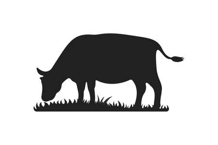 Cow silhouettes on grass. Cow grazing on meadow vector cartoon illustration