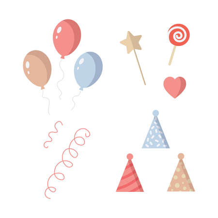 Birthday party elements set. onfetti, balloons, gifts, ribbons.