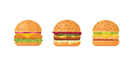 Set of classic burgers with flying ingredients. Vector hamburger icons. Archivio Fotografico - 132972119