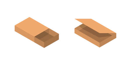 Isometric packaging cardboard box vector illustration in cartoon style on white background.