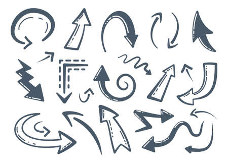 Collection of Handmade Doodle Vector Arrows. Different hand drawn arrow icons. Cursor, curve, up and down design set in cartoon style