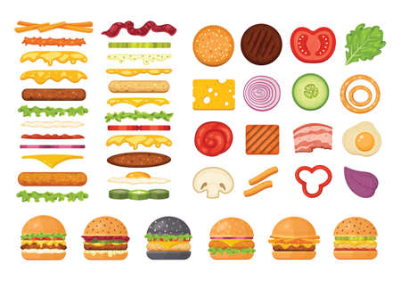 Big set of vector ingredients for burger and sandwich top view and front. Elements for different burgers isolated on white backgroud. Fastfood hamburger maker with flying ingredients