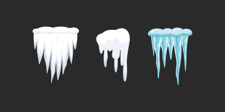 Vector set of icicles in cartoon style. Snow and ice vector frames, snowcap and snowdrift Çizim