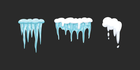 Vector set of icicles in cartoon style. Snow and ice vector frames, snowcap and snowdrift Illustration