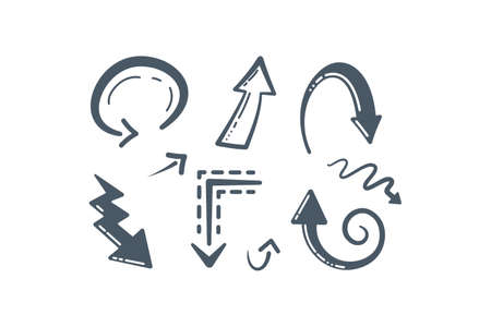 Collection of Handmade Doodle Vector Arrows. Different hand drawn arrow icons in cartoon style