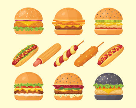 Set of classic burgers with flying ingredients and hotdogs. Vector hamburger and hot dog icons. Fastfood set Archivio Fotografico - 133250331