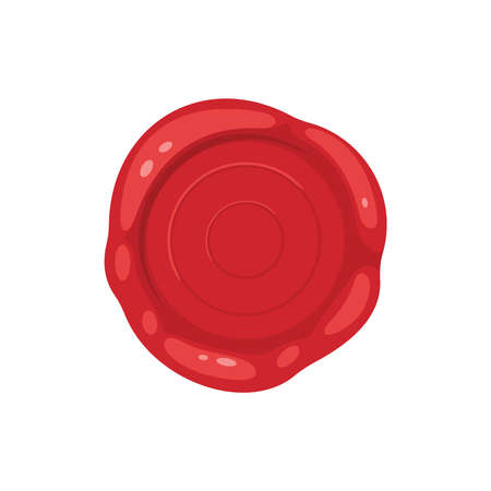 Cartoon 3d red old wax stamps vector icons. Empty seals symbol of quality, warranty and security. Sealing label set