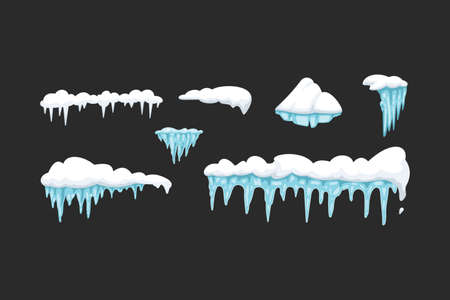 Vector set of icicles in cartoon style. Snow and ice vector frames, snowcap and snowdrift.
