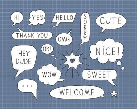 Cute vector speech bubble doodle set. Balloon bubbles design with short messages Çizim