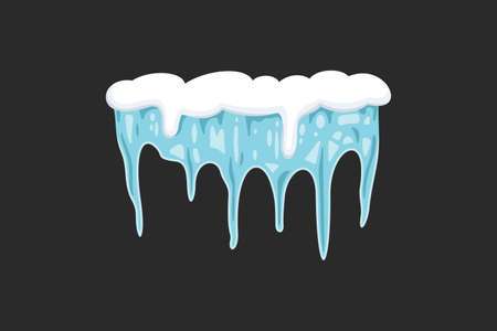 Vector icicle illustration in cartoon style. Snow and ice frame