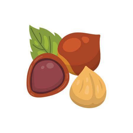 Hazelnut vector icon nuts in cartoon style. Hazel Nut food collection Standard-Bild - 133255572