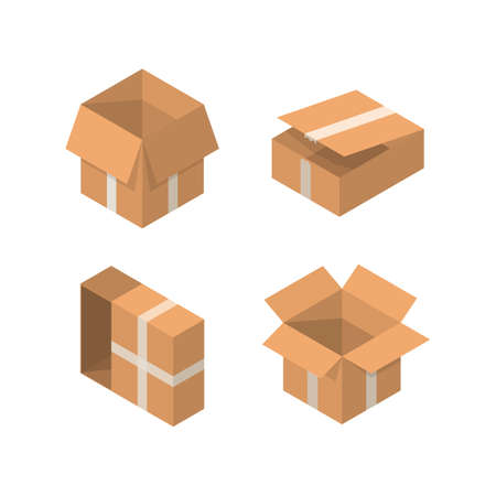 Isometric packaging box vector set. cardboard boxes collection in cartoon style solated on white background