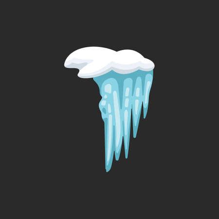 Vector icicle illustration in cartoon style. Snow and ice frame.