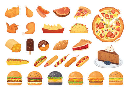 Big fast food set of vector icons in cartoon style. Street dinner junk menu. Burger, pizza, meat, hot dog, dessert. Foto de archivo - 135042809
