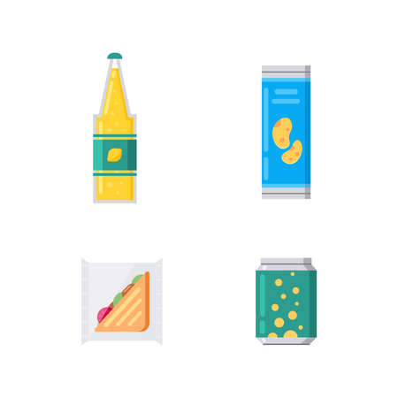 Sandwich snacks, toasts, soda and chips in package vector set in cartoon style. Foto de archivo - 135042870