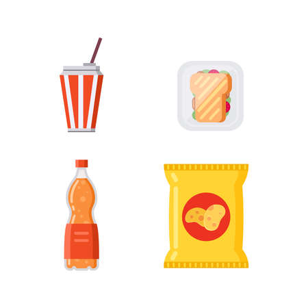 Potato chips pack bag and soda drinks collection vector illustration. Foto de archivo - 135135173