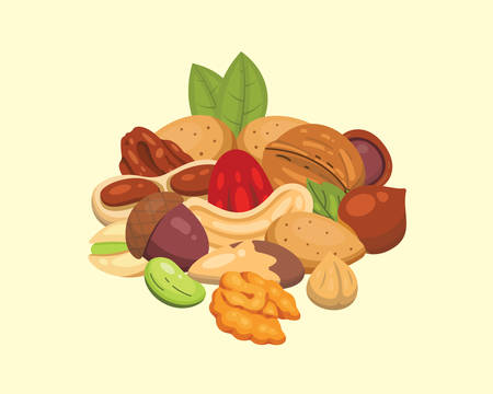 Set vector icons nuts in cartoon style. Nut food collection. Peanut, hazelnut, pistachio, cashew, pecan, walnut, brazil nut, almond and acorn. Ilustração