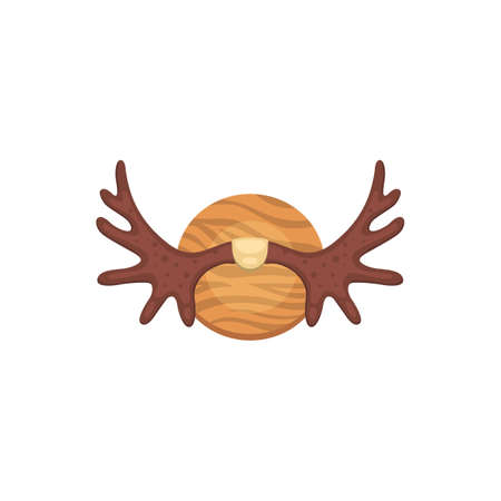 Moose vector horns, deer horny hunting trophy animal horn.