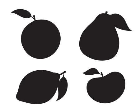 Citrus fruits silhouette orange, grapefruit, lemon, pomelo isolated vector icons. Tropical fruits set Çizim