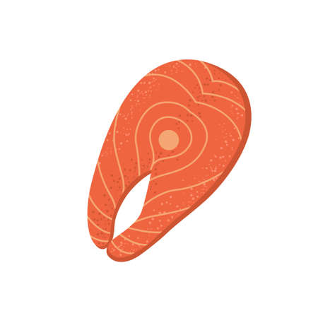 Fresh red fish meat vector icon. Raw Salmon steak textured cartoon style. Organic seafood illustration for food menu Isolated