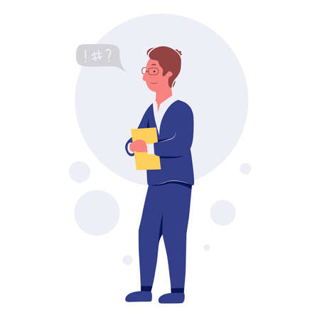 Business people talking and discussing. Businessmen discuss with speech bubble talk vector illustration