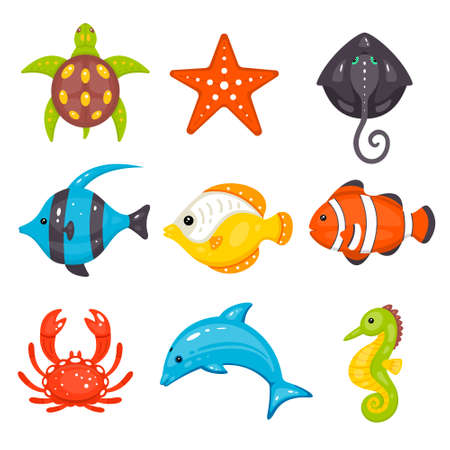 Sea animals vector set in cartoon hand drawn style. Marine life and underwater creatures contains turtle, seastar, stingray, fishes, crab, dolphin, seahorse