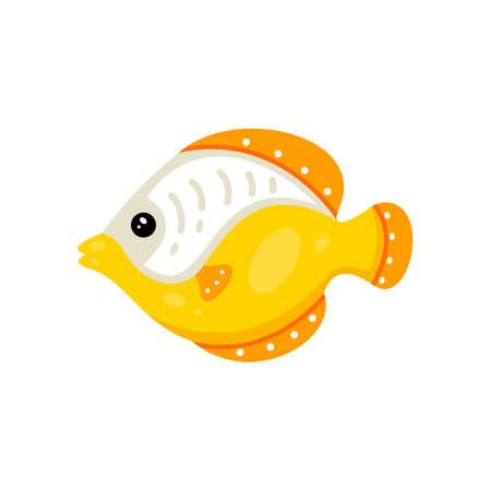 Tropical fish vector icon in cartoon hand drawn style. Sea animal illustration. Marine life