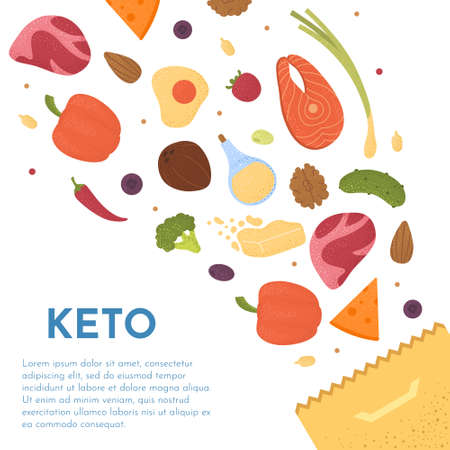Keto diet products set vector. Ketogenic raw food icons with texture. Fats, proteins and carbs healthy concept. Ilustrace
