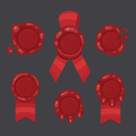 Red stamp ribbons isolated illustration. Vector wax seal with ribbon.