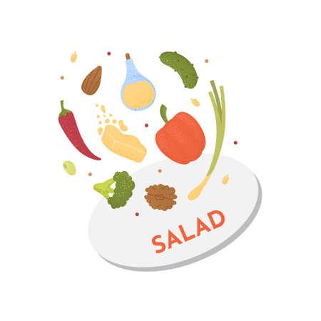 Vegan raw salad illustration. Cartoon design food concept of healthy eating.